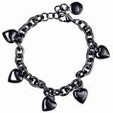 SNÖ of Sweden Black Heart charm armband 383-4851001