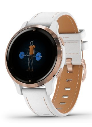Garmin Venu 2S Rose Gold with White Leather Band 010-02429-23