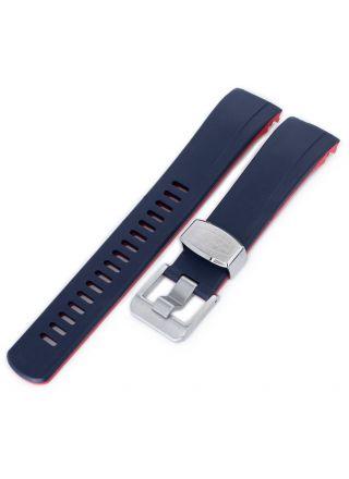 Crafter Blue CB09 Navy/Red gummiarmband till Seiko Samurai