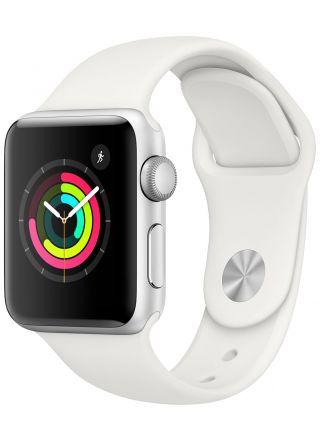 Apple Watch Series 3 GPS aluminiumboett silver 38mm sportband vit MTEY2FS/A