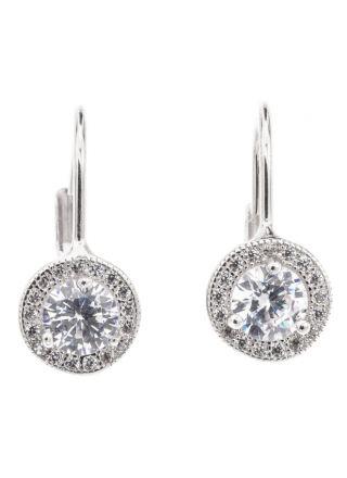 Silver Bar Diana hängande örhängen klar halo 20 mm 7874