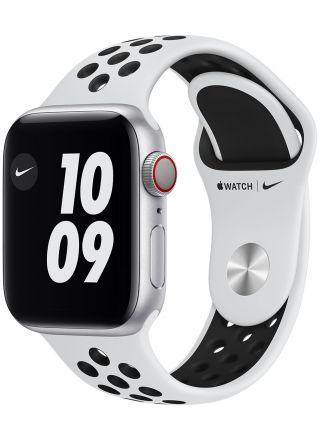 Apple Watch Nike Series 6 GPS + Cellular aluminiumboett i silver 40 mm Pure Platinum/svart Nike sportband M07C3KS/A