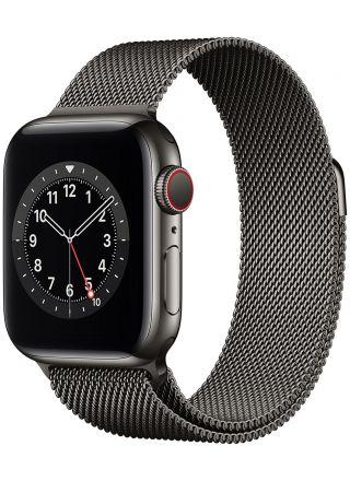 Apple Watch Series 6 GPS + Cellular rostfri stålboett i grafitgrå 40 mm grafitgrå milanesisk loop M06Y3KS/A