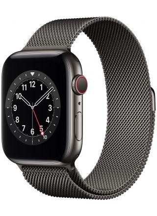 Apple Watch Series 6 GPS + Cellular rostfri stålboett i grafitgrå 44 mm grafitgrå milanesisk loop M09J3KS/A
