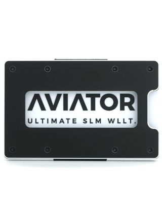 Aviator plånbok classic Obsidian Black Carbon Clip + aluminium myntficka Slim model