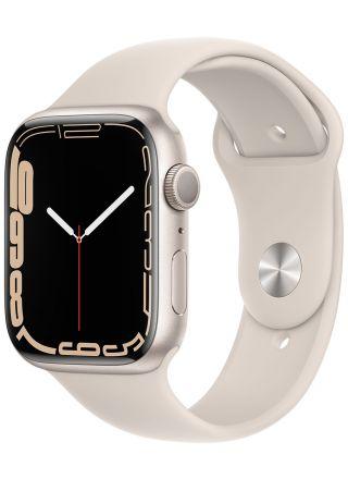 Apple Watch Series 7 GPS stjärnglans aluminiumboett 45 mm stjärnglans sportband MKN63KS/A