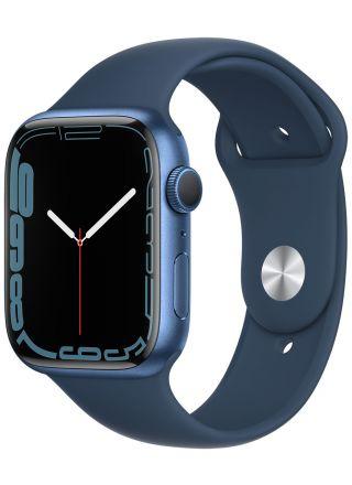 Apple Watch Series 7 GPS blå aluminiumboett 45 mm bläckblå sportband MKN83KS/A