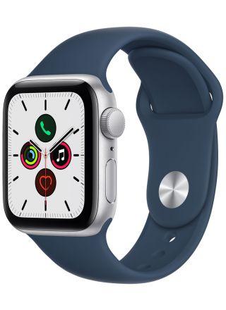 Apple Watch SE GPS aluminiumboett i silver 40 mm bläckblå sportband MKNY3KS/A