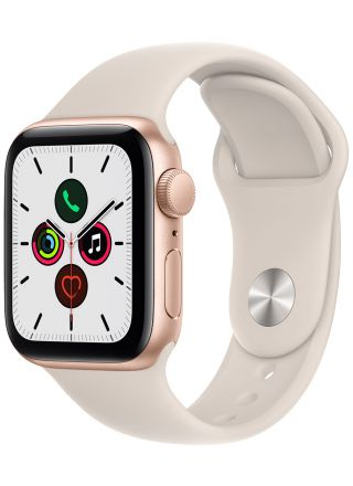 Apple Watch SE GPS aluminiumboett i guld 40 mm stjärnglans sportband MKQ03KS/A