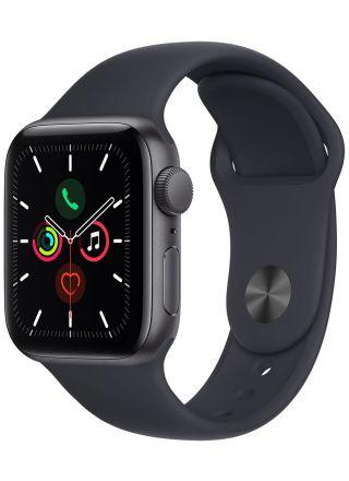 Apple Watch SE GPS aluminiumboett i rymdgrått 40 mm midnatt sportband MKQ13KS/A