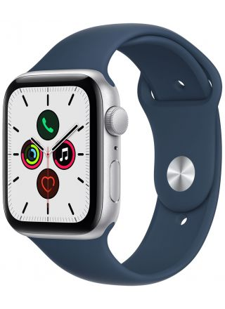 Apple Watch SE GPS aluminiumboett i silver 44 mm bläckblå sportband MKQ43KS/A