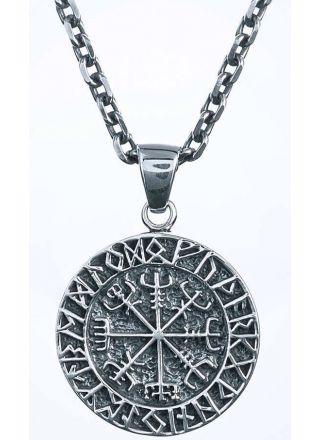 Northern Viking Jewelry Vegvisir compass hänge i silver NVJ-H-RS002