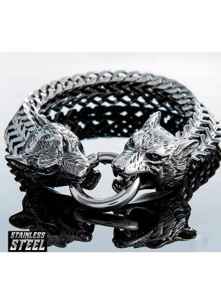 Northern Viking Jewelry NVJRA007 armband Steel Wolf Head